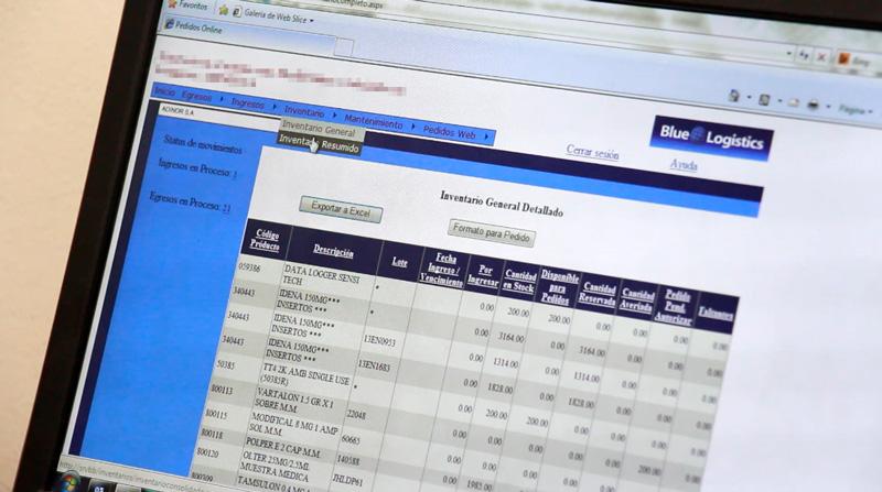 Sistema de monitoreo de inventario en línea Blue Logistics